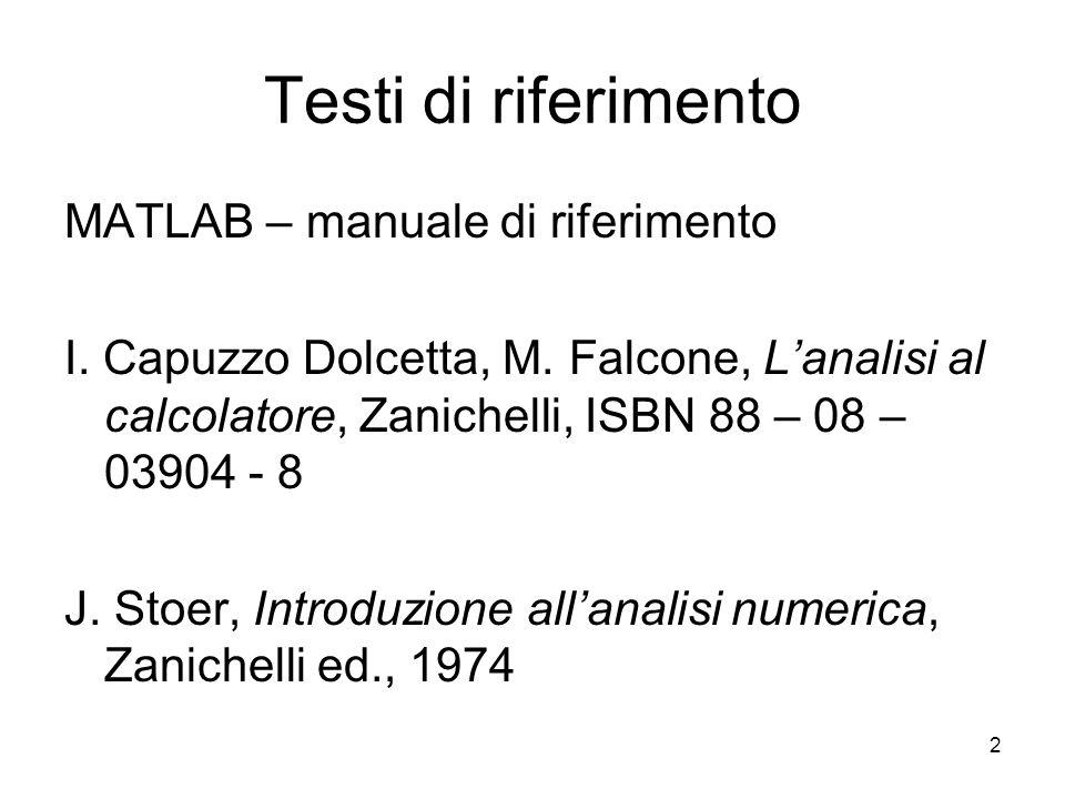 2 Testi di riferimento MATLAB – manuale di riferimento I. Capuzzo Dolcetta, M. Falcone, Lanalisi al calcolatore, Zanichelli, ISBN 88 – 08 – 03904 - 8