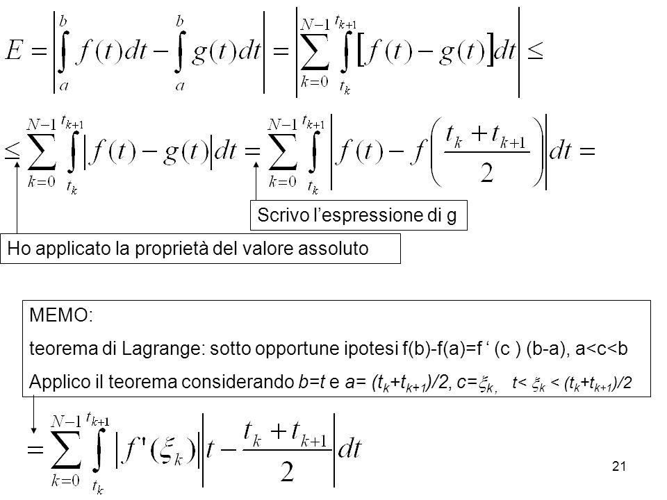 21 MEMO: teorema di Lagrange: sotto opportune ipotesi f(b)-f(a)=f (c ) (b-a), a<c<b Applico il teorema considerando b=t e a= (t k +t k+1 )/2, c= k, t<