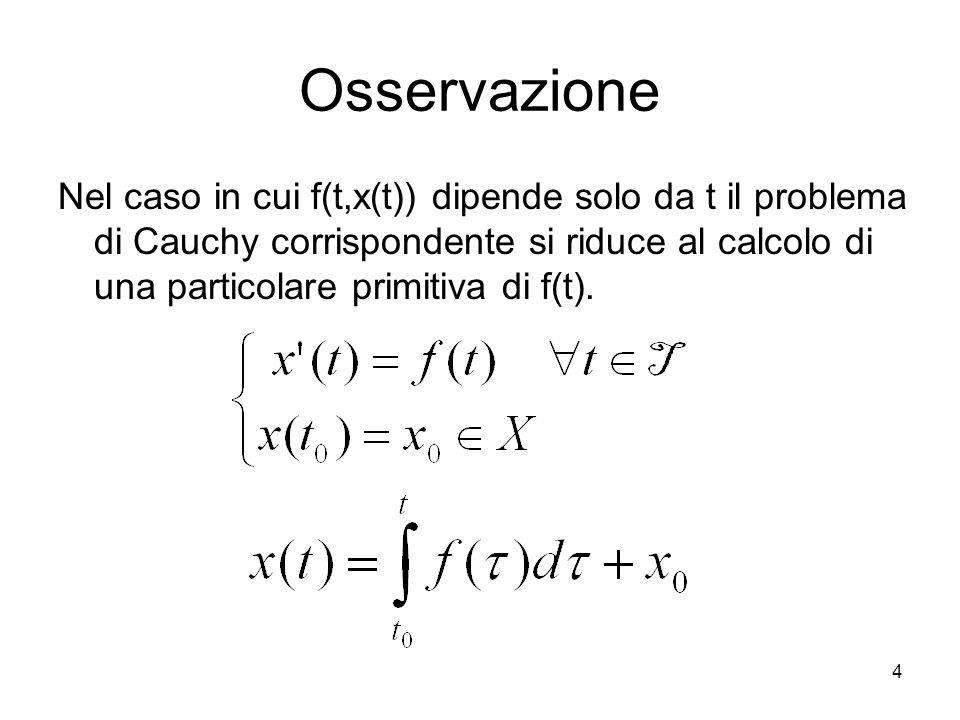 4 Osservazione Nel caso in cui f(t,x(t)) dipende solo da t il problema di Cauchy corrispondente si riduce al calcolo di una particolare primitiva di f