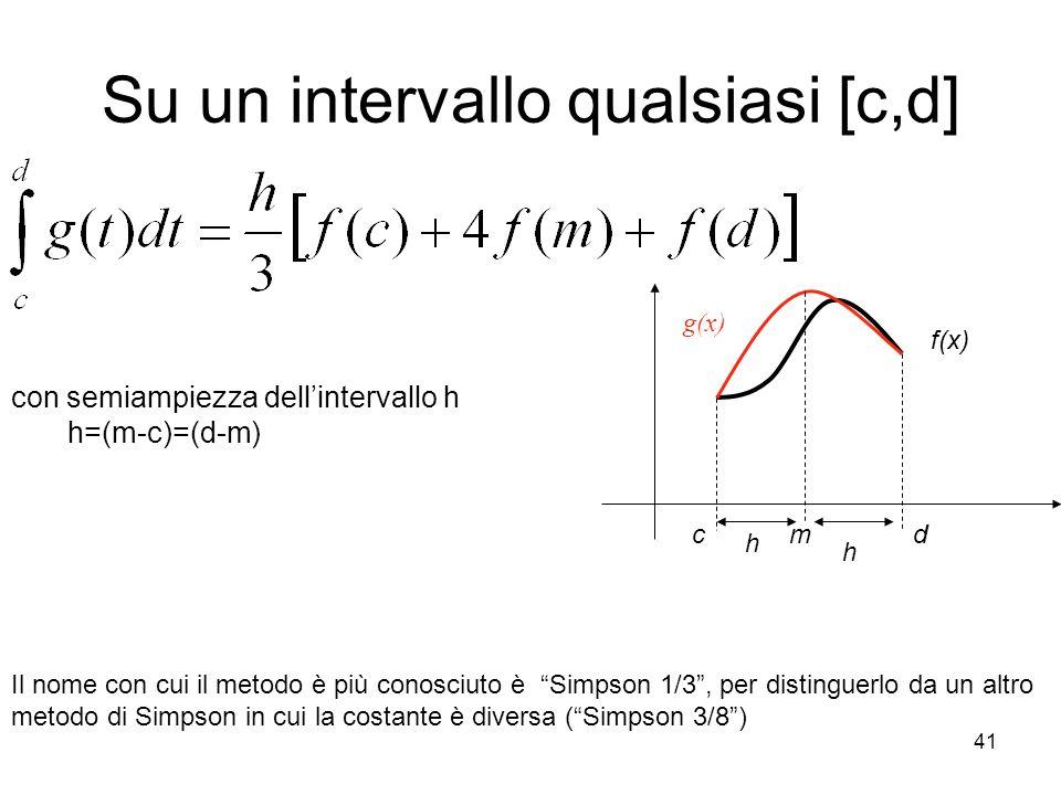 41 Su un intervallo qualsiasi [c,d] con semiampiezza dellintervallo h h=(m-c)=(d-m) Il nome con cui il metodo è più conosciuto è Simpson 1/3, per dist