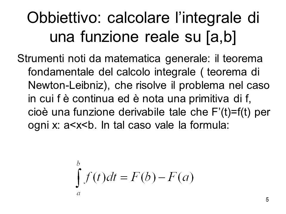 5 Obbiettivo: calcolare lintegrale di una funzione reale su [a,b] Strumenti noti da matematica generale: il teorema fondamentale del calcolo integrale
