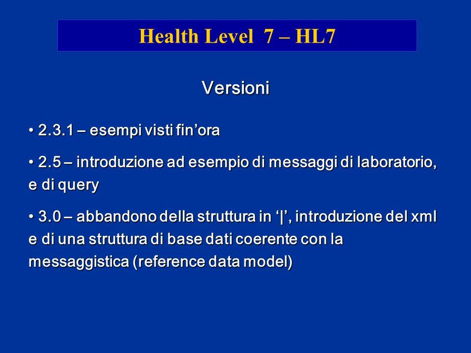 Health Level 7 – HL7 Versioni 2.3.1 – esempi visti finora 2.3.1 – esempi visti finora 2.5 – introduzione ad esempio di messaggi di laboratorio, e di q