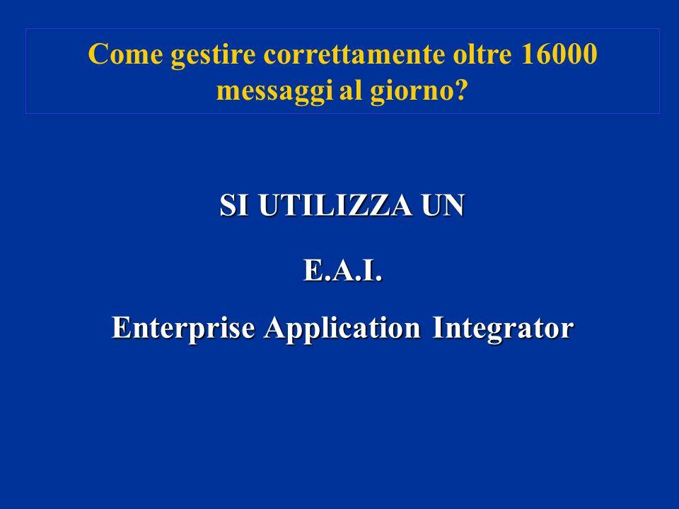 Come gestire correttamente oltre 16000 messaggi al giorno? SI UTILIZZA UN E.A.I. Enterprise Application Integrator