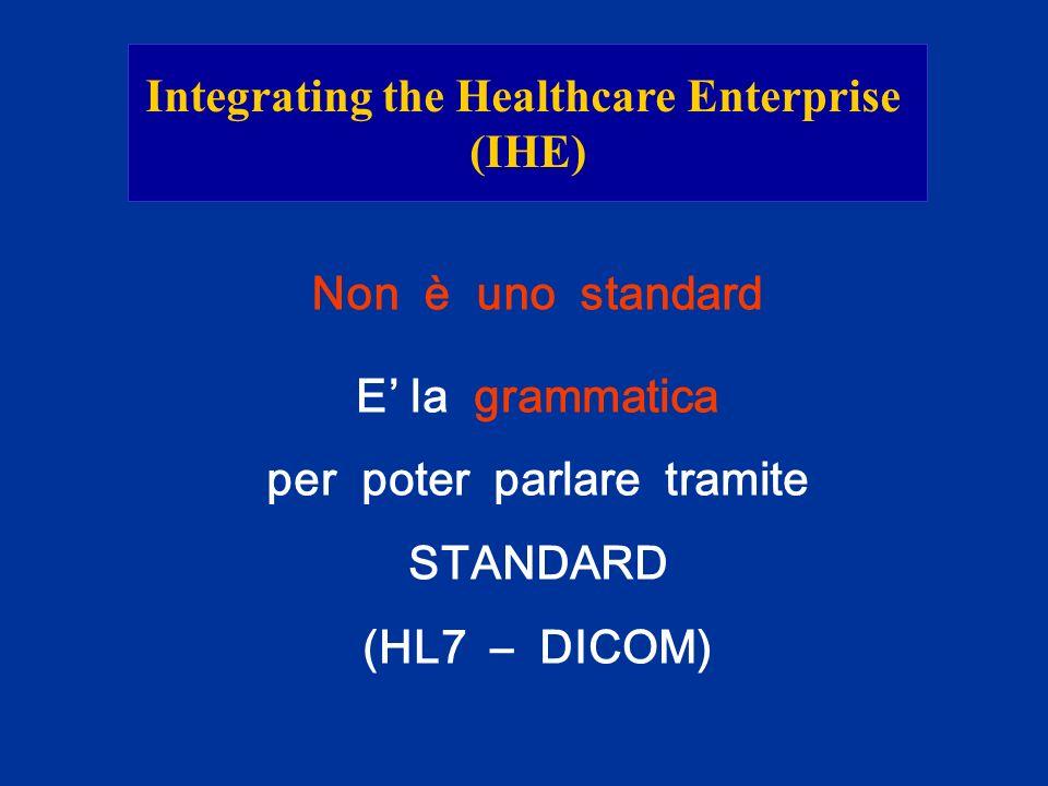 Integrating the Healthcare Enterprise (IHE) Non è uno standard E la grammatica per poter parlare tramite STANDARD (HL7 – DICOM)