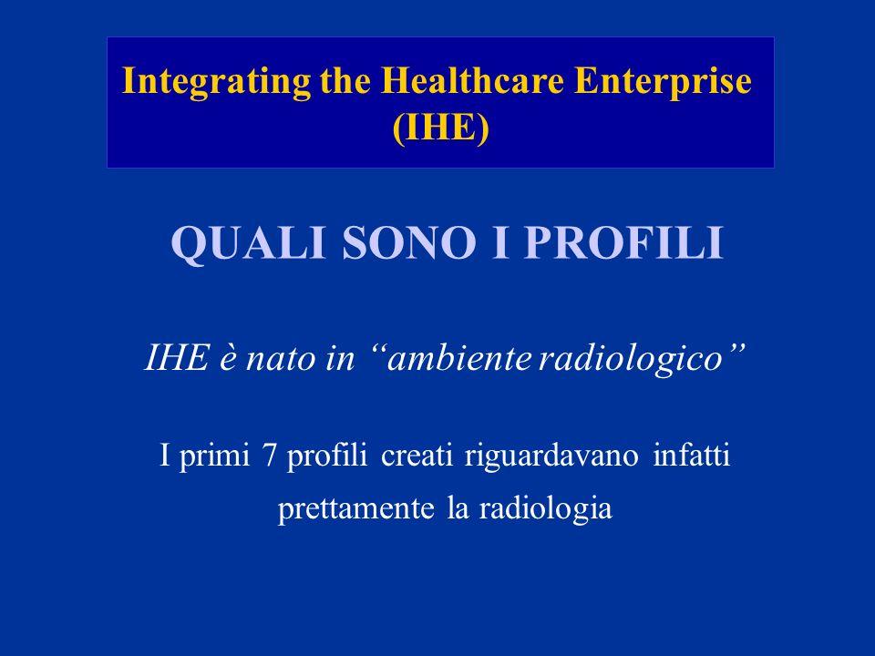 Integrating the Healthcare Enterprise (IHE) QUALI SONO I PROFILI IHE è nato in ambiente radiologico I primi 7 profili creati riguardavano infatti pret