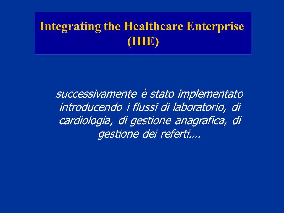 Integrating the Healthcare Enterprise (IHE) successivamente è stato implementato introducendo i flussi di laboratorio, di cardiologia, di gestione ana