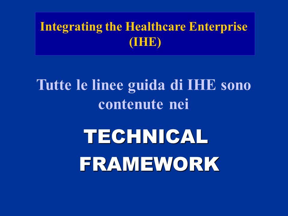 Integrating the Healthcare Enterprise (IHE) Tutte le linee guida di IHE sono contenute nei TECHNICAL FRAMEWORK FRAMEWORK