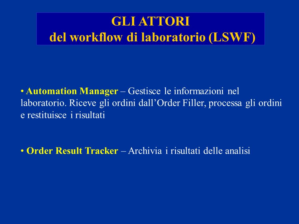 Automation Manager – Gestisce le informazioni nel laboratorio. Riceve gli ordini dallOrder Filler, processa gli ordini e restituisce i risultati Order
