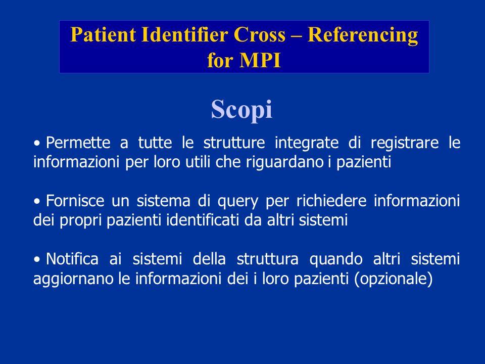 Patient Identifier Cross – Referencing for MPI Scopi Permette a tutte le strutture integrate di registrare le informazioni per loro utili che riguarda