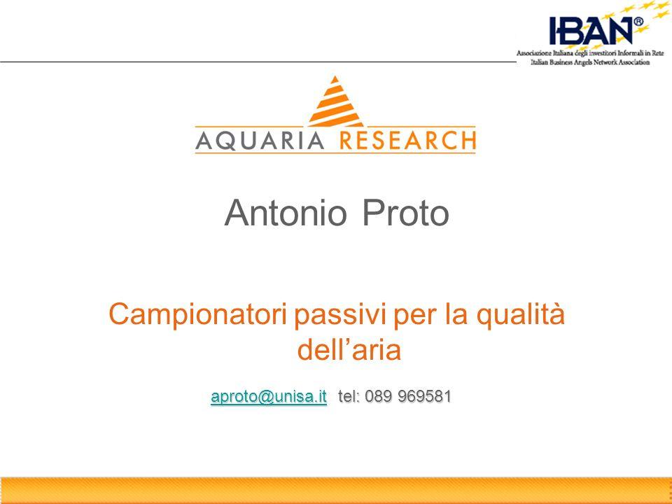 Antonio Proto Campionatori passivi per la qualità dellaria aproto@unisa.itaproto@unisa.it tel: 089 969581 aproto@unisa.it