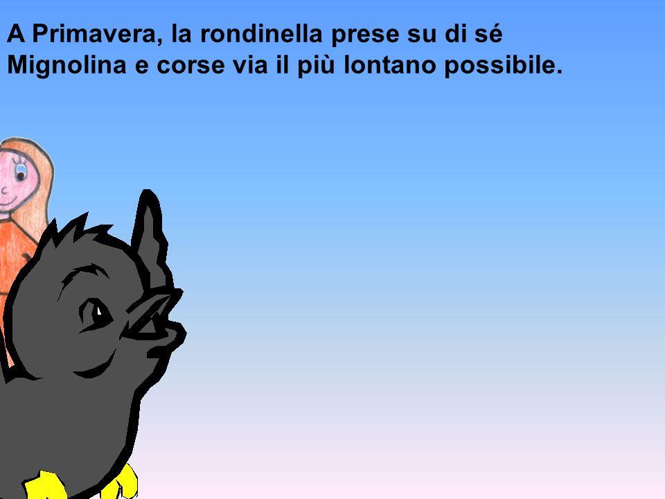 A Primavera, la rondinella prese su di sé Mignolina e corse via il più lontano possibile.