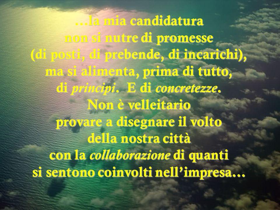 la mia candidatura non si nutre di promesse (di posti, di prebende, di incarichi), ma si alimenta, prima di tutto, di principi.