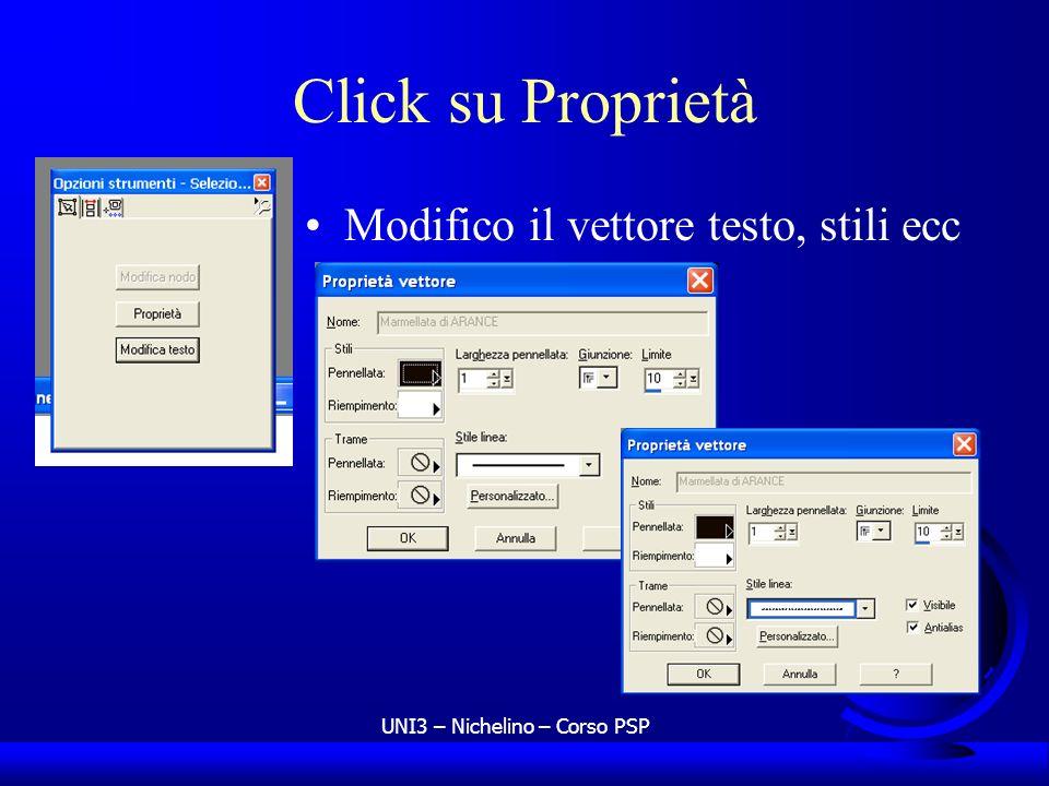 UNI3 – Nichelino – Corso PSP Click su Proprietà Modifico il vettore testo, stili ecc