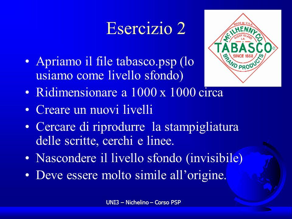 UNI3 – Nichelino – Corso PSP Esercizio 2 Apriamo il file tabasco.psp (lo usiamo come livello sfondo) Ridimensionare a 1000 x 1000 circa Creare un nuov