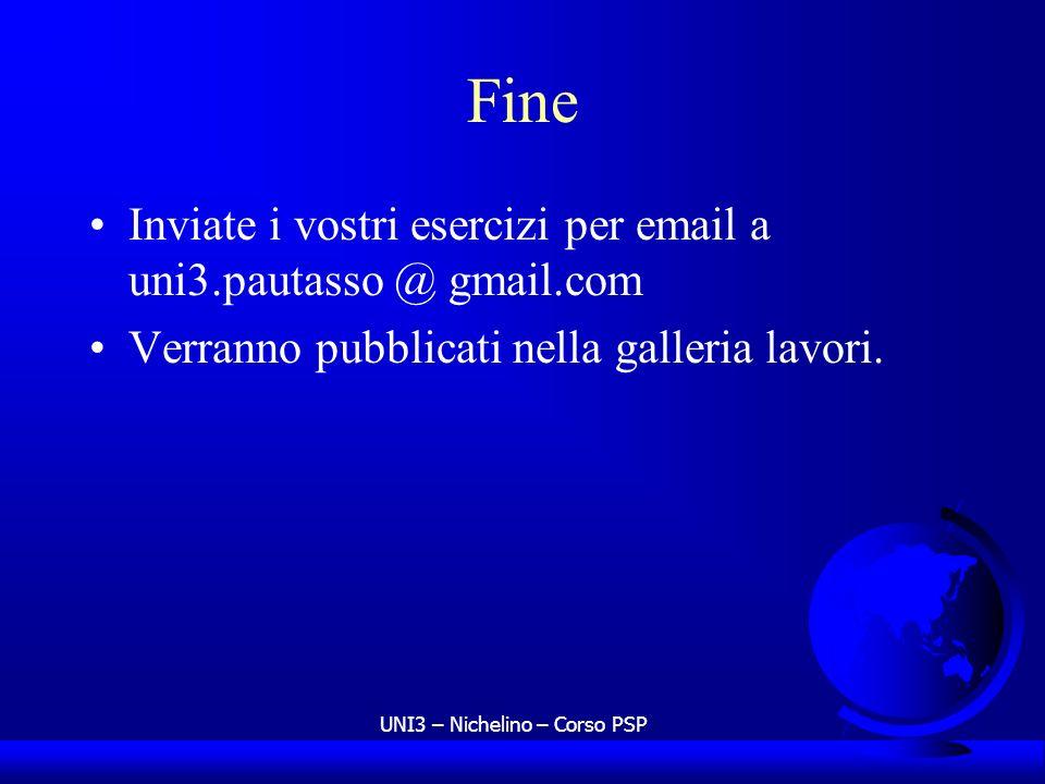 UNI3 – Nichelino – Corso PSP Fine Inviate i vostri esercizi per email a uni3.pautasso @ gmail.com Verranno pubblicati nella galleria lavori.
