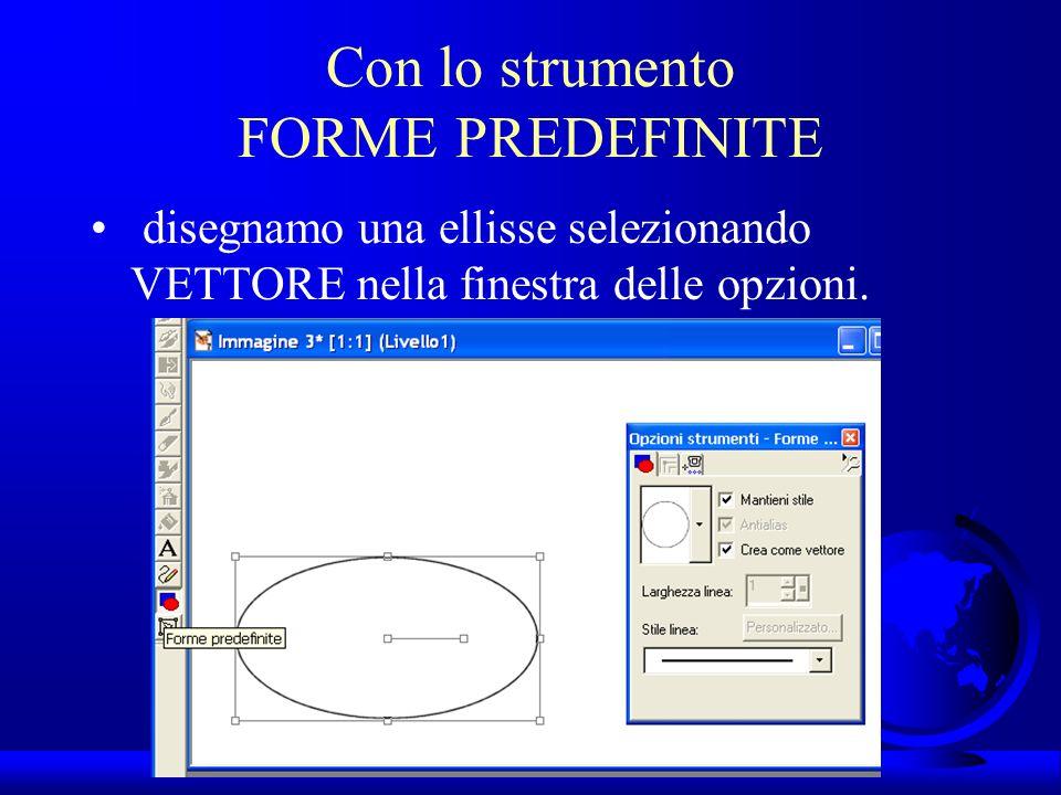 UNI3 – Nichelino – Corso PSP Con lo strumento FORME PREDEFINITE disegnamo una ellisse selezionando VETTORE nella finestra delle opzioni.