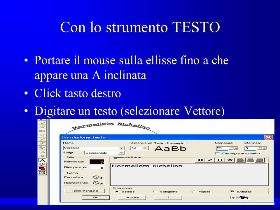 UNI3 – Nichelino – Corso PSP Con lo strumento TESTO Portare il mouse sulla ellisse fino a che appare una A inclinata Click tasto destro Digitare un te