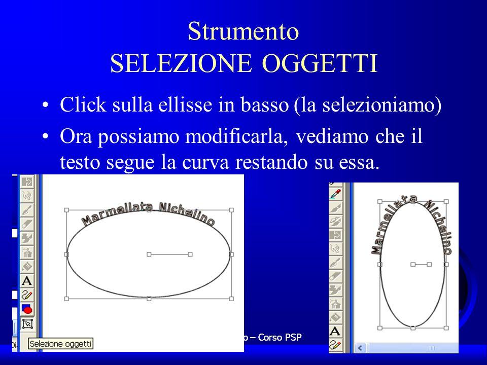 UNI3 – Nichelino – Corso PSP Strumento SELEZIONE OGGETTI Click sulla ellisse in basso (la selezioniamo) Ora possiamo modificarla, vediamo che il testo