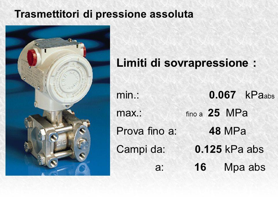 Trasmettitori di pressione assoluta Limiti di sovrapressione : min.: 0.067 kPa abs max.: fino a 25 MPa Prova fino a:48 MPa Campi da: 0.125 kPa abs a: