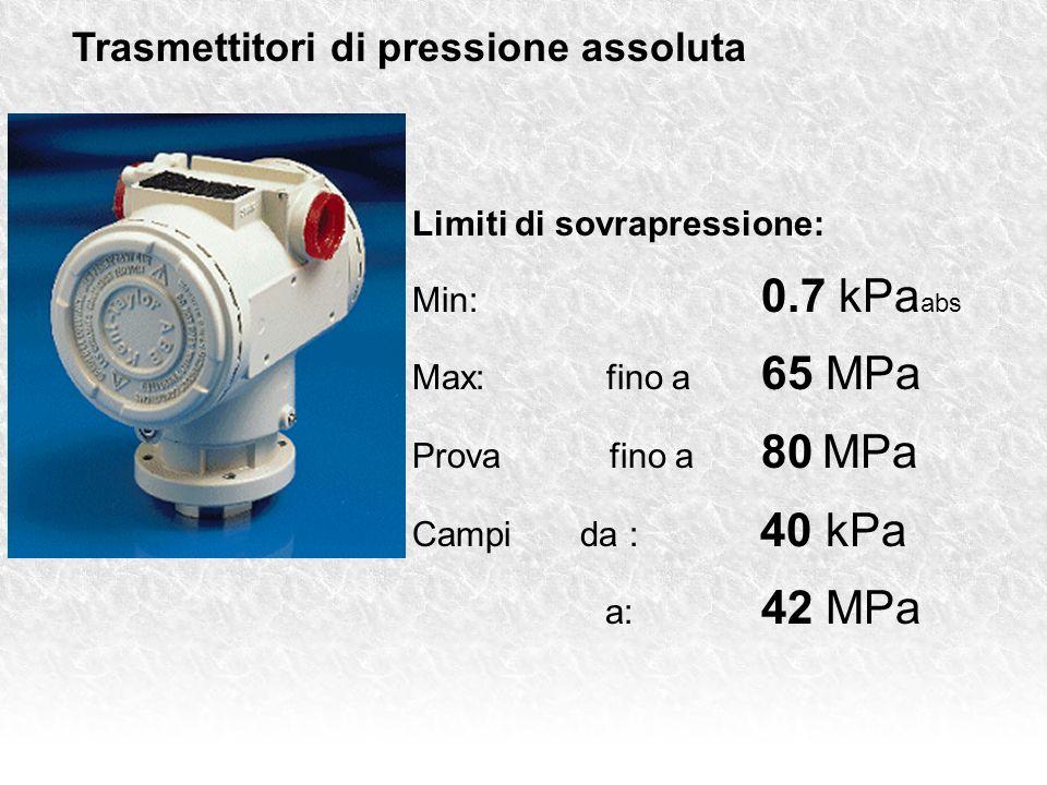 Trasmettitori di pressione assoluta Limiti di sovrapressione: Min: 0.7 kPa abs Max: fino a 65 MPa Prova fino a 80 MPa Campi da : 40 kPa a: 42 MPa