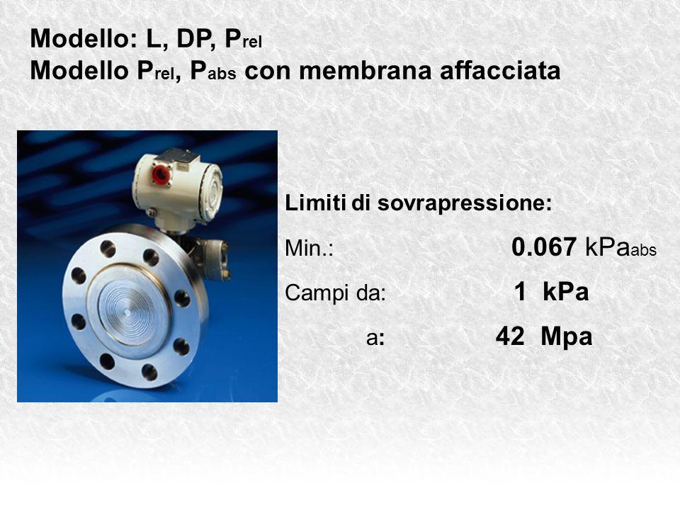 Modello: L, DP, P rel Modello P rel, P abs con membrana affacciata Limiti di sovrapressione: Min.: 0.067 kPa abs Campi da: 1 kPa a: 42 Mpa