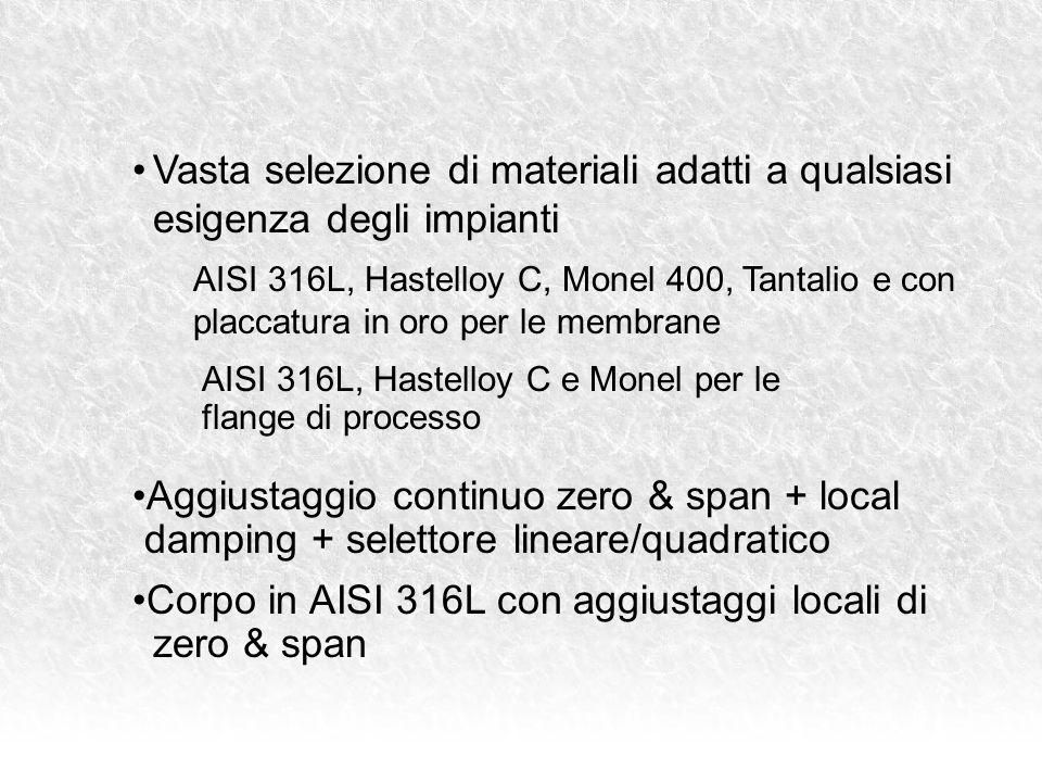 AISI 316L, Hastelloy C, Monel 400, Tantalio e con placcatura in oro per le membrane AISI 316L, Hastelloy C e Monel per le flange di processo Aggiustaggio continuo zero & span + local damping + selettore lineare/quadratico Corpo in AISI 316L con aggiustaggi locali di zero & span Vasta selezione di materiali adatti a qualsiasi esigenza degli impianti