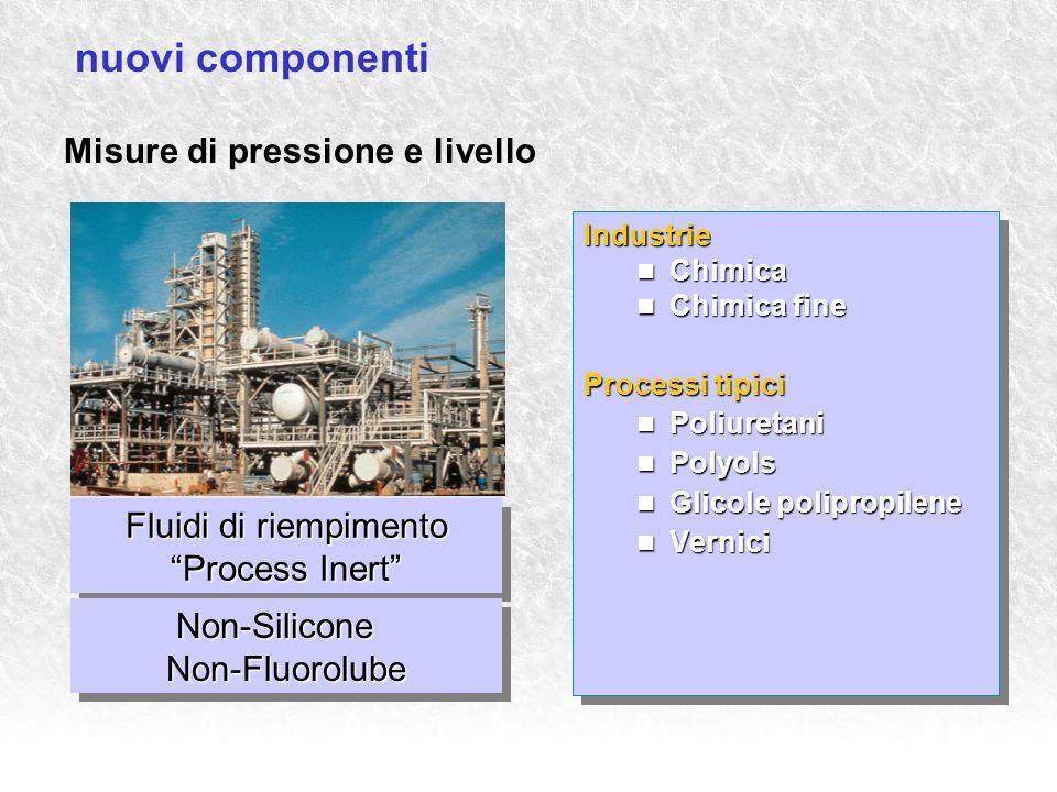 Fluidi di riempimento Process Inert Misure di pressione e livello Industrie Chimica Chimica Chimica fine Chimica fine Processi tipici Poliuretani Poli