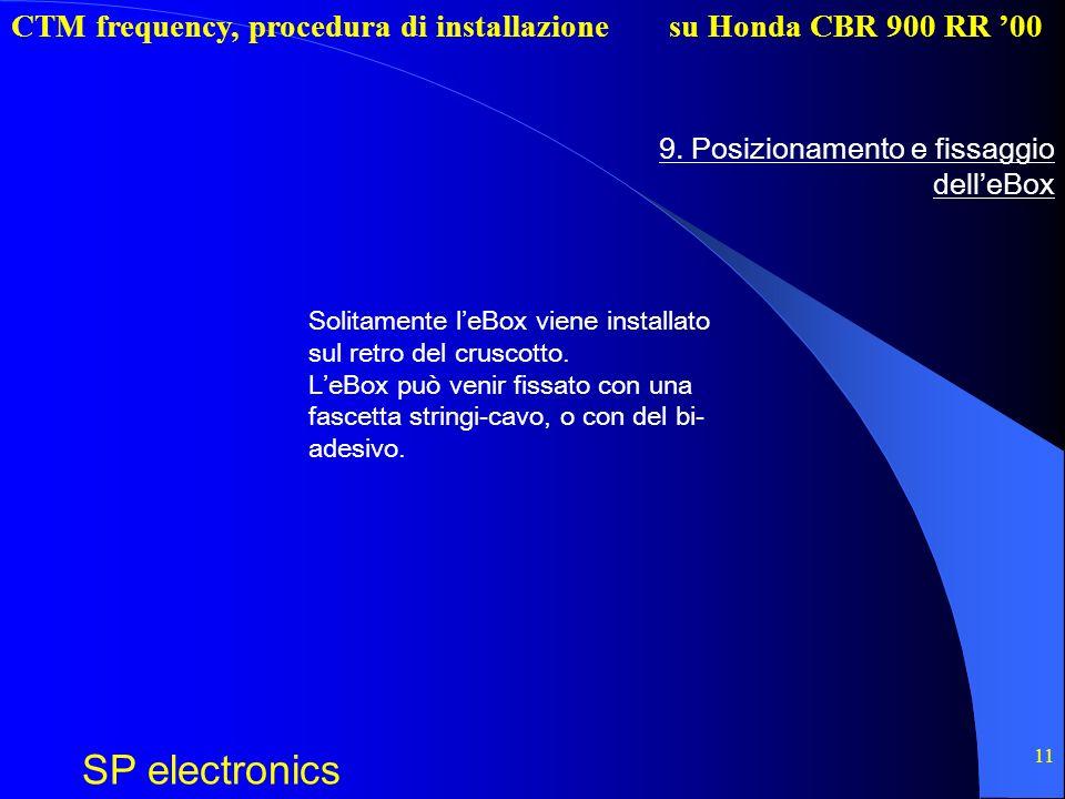 CTM frequency, procedura di installazione SP electronics su Honda CBR 900 RR 00 11 9. Posizionamento e fissaggio delleBox Solitamente leBox viene inst