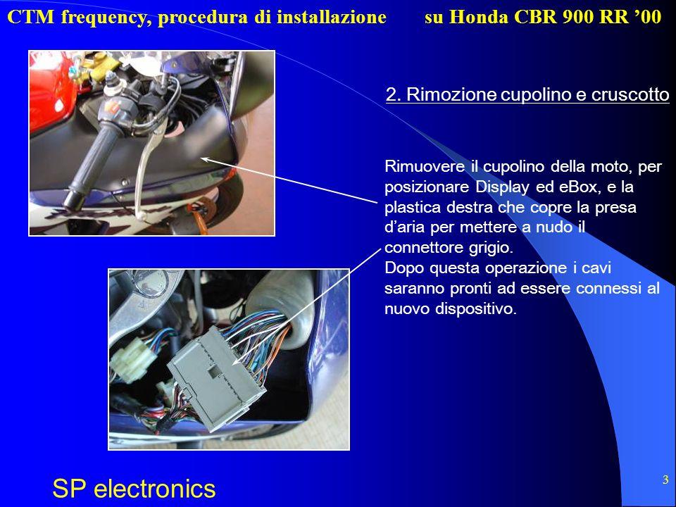 CTM frequency, procedura di installazione SP electronics su Honda CBR 900 RR 00 3 2. Rimozione cupolino e cruscotto Rimuovere il cupolino della moto,