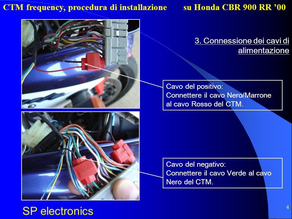 CTM frequency, procedura di installazione SP electronics su Honda CBR 900 RR 00 4 3. Connessione dei cavi di alimentazione Cavo del positivo: Connette