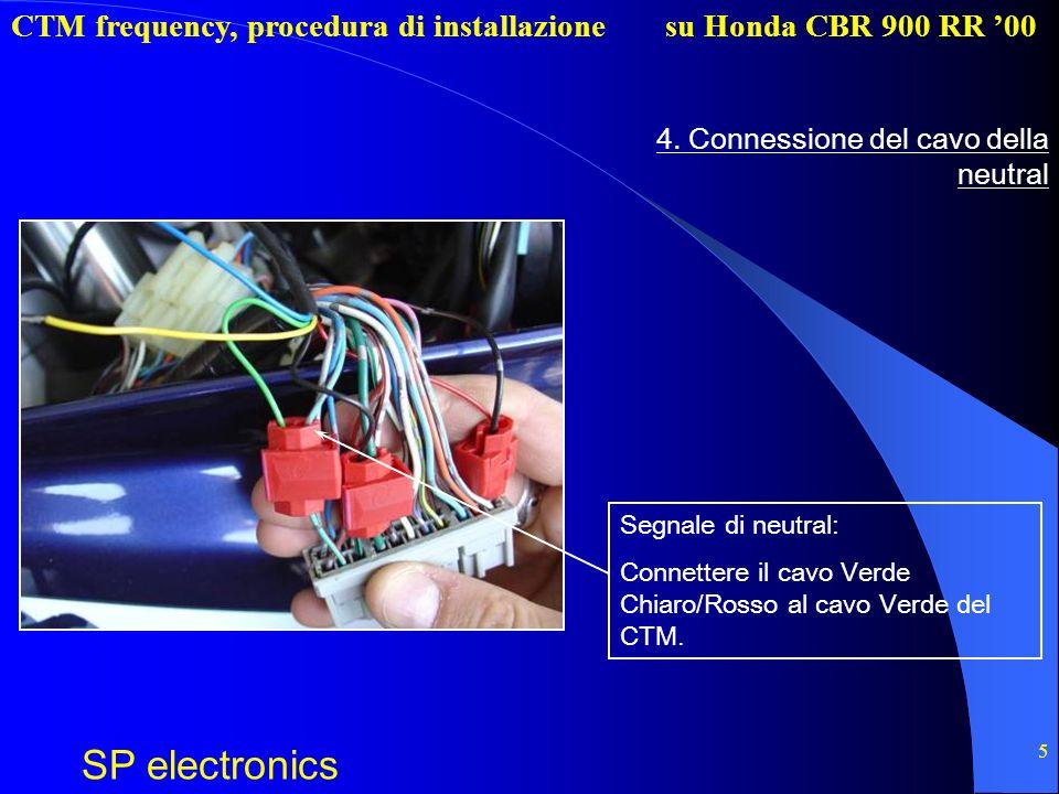 CTM frequency, procedura di installazione SP electronics su Honda CBR 900 RR 00 5 4. Connessione del cavo della neutral Segnale di neutral: Connettere
