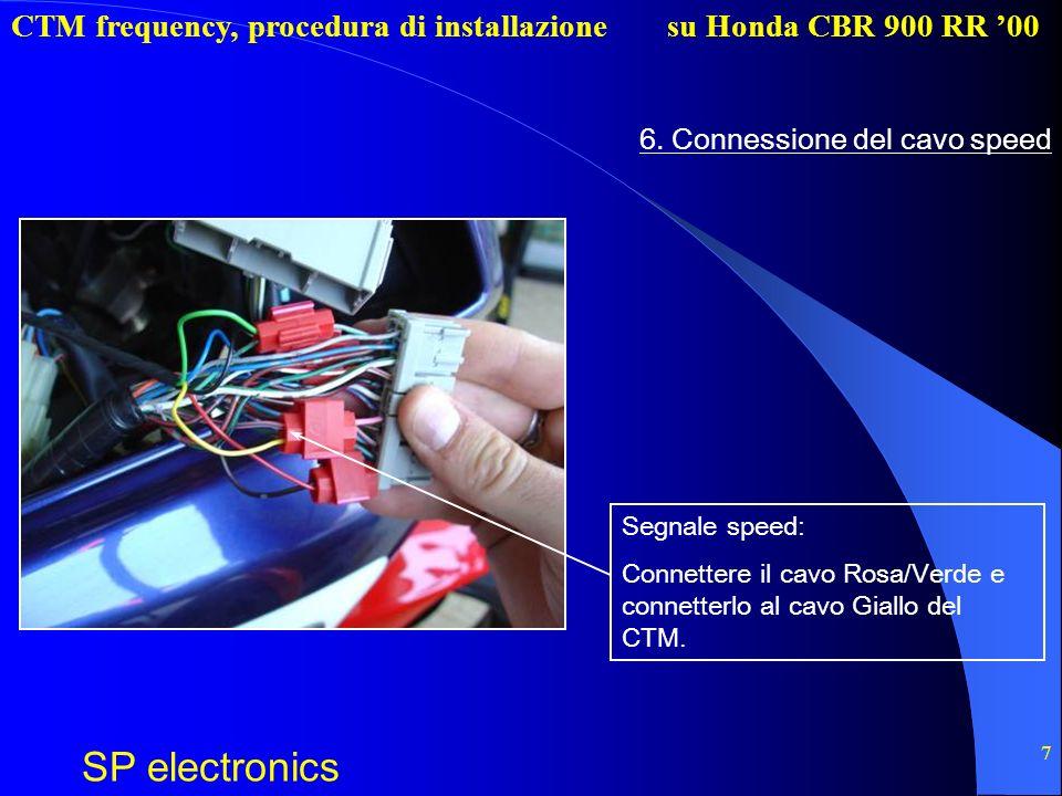CTM frequency, procedura di installazione SP electronics su Honda CBR 900 RR 00 7 6. Connessione del cavo speed Segnale speed: Connettere il cavo Rosa