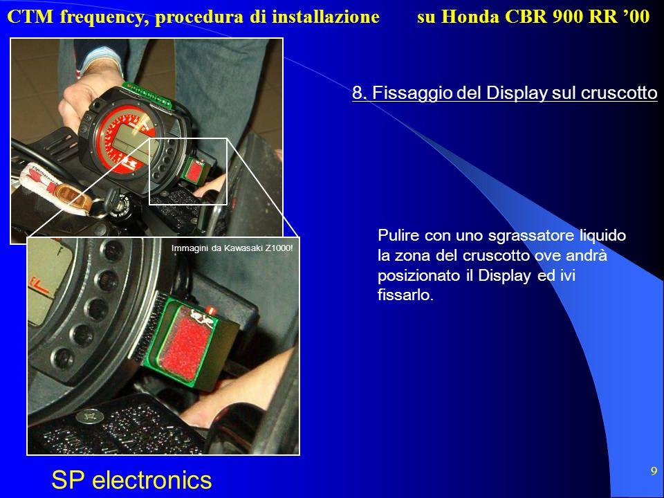 CTM frequency, procedura di installazione SP electronics su Honda CBR 900 RR 00 9 8. Fissaggio del Display sul cruscotto Pulire con uno sgrassatore li