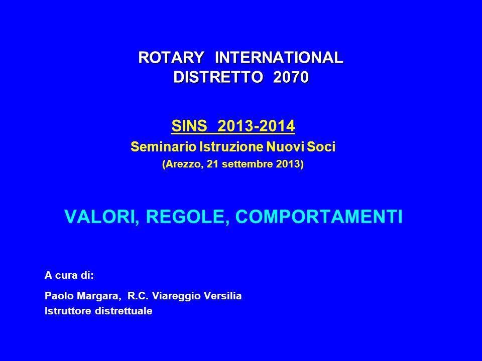 ROTARY INTERNATIONAL DISTRETTO 2070 SINS 2013-2014 Seminario Istruzione Nuovi Soci (Arezzo, 21 settembre 2013) VALORI, REGOLE, COMPORTAMENTI A cura di