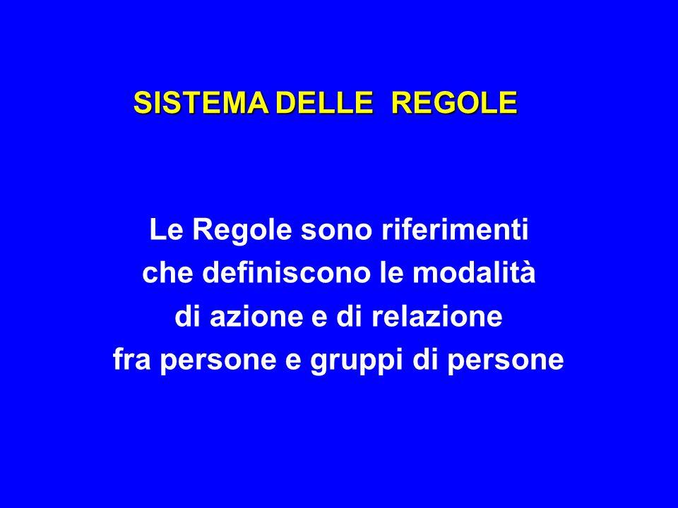 SISTEMA DELLE REGOLE Le Regole sono riferimenti che definiscono le modalità di azione e di relazione fra persone e gruppi di persone