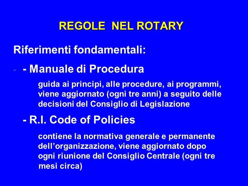 REGOLE NEL ROTARY Riferimenti fondamentali: - - Manuale di Procedura guida ai principi, alle procedure, ai programmi, viene aggiornato (ogni tre anni)