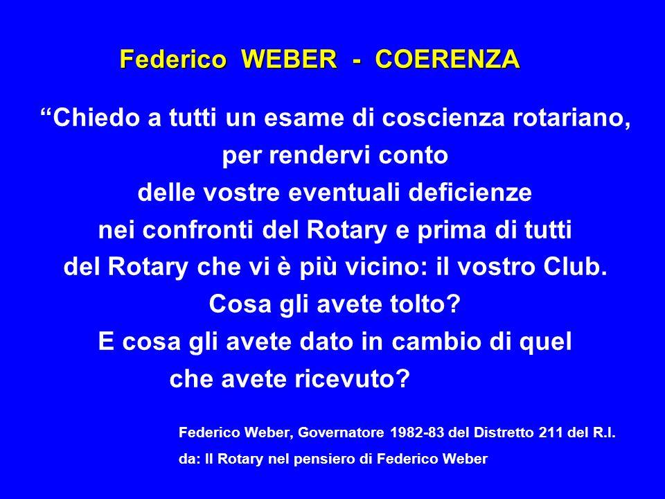 Federico WEBER - COERENZA Chiedo a tutti un esame di coscienza rotariano, per rendervi conto delle vostre eventuali deficienze nei confronti del Rotar