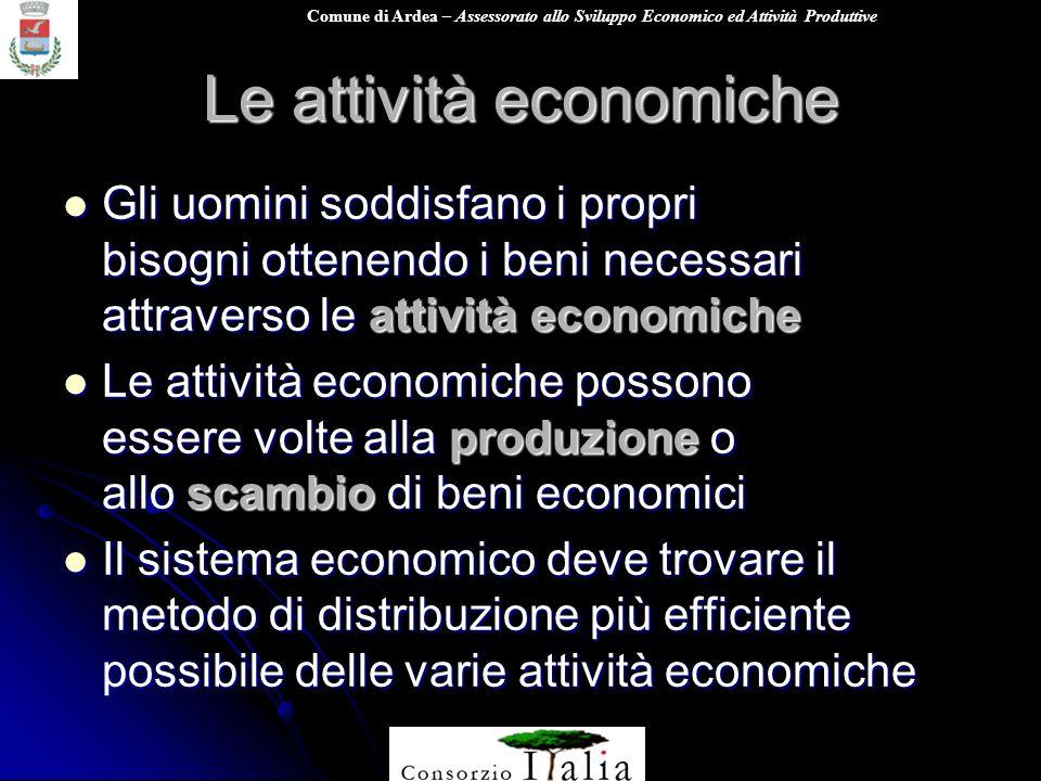Comune di Ardea – Assessorato allo Sviluppo Economico ed Attività Produttive Le attività economiche Unattività volta alla realizzazione di un prodotto o di un servizio viene definita economica.
