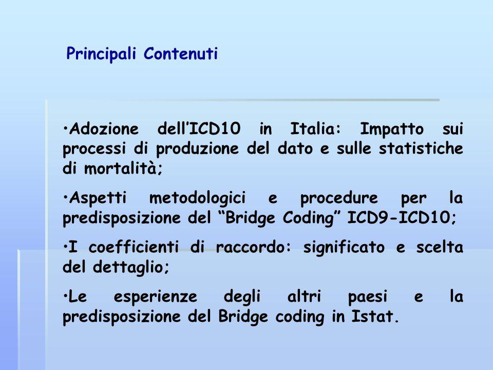 Adozione dellICD10 in Italia: Impatto sui processi di produzione del dato e sulle statistiche di mortalità; Aspetti metodologici e procedure per la pr
