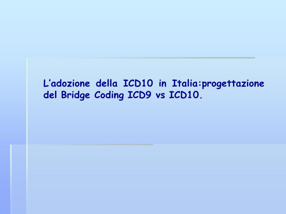 Ladozione della ICD10 in Italia:progettazione del Bridge Coding ICD9 vs ICD10.