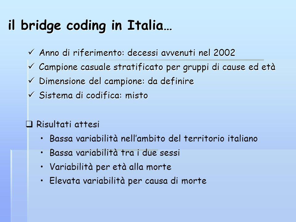 il bridge coding in Italia… Anno di riferimento: decessi avvenuti nel 2002 Anno di riferimento: decessi avvenuti nel 2002 Campione casuale stratificat