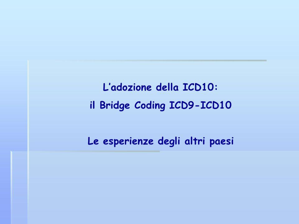 Ladozione della ICD10: il Bridge Coding ICD9-ICD10 Le esperienze degli altri paesi