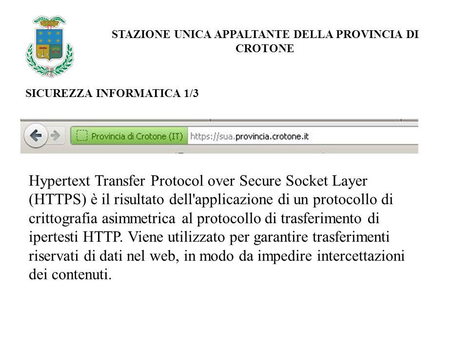 SICUREZZA INFORMATICA 1/3 Hypertext Transfer Protocol over Secure Socket Layer (HTTPS) è il risultato dell applicazione di un protocollo di crittografia asimmetrica al protocollo di trasferimento di ipertesti HTTP.