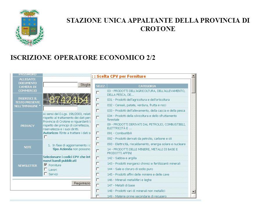 ISCRIZIONE OPERATORE ECONOMICO 2/2 STAZIONE UNICA APPALTANTE DELLA PROVINCIA DI CROTONE