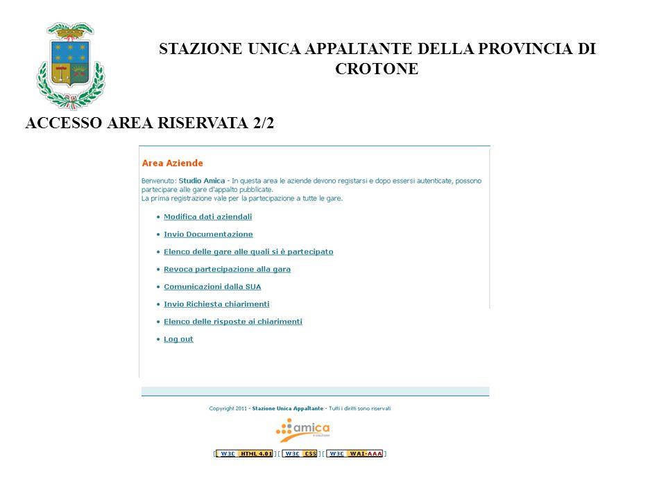 ACCESSO AREA RISERVATA 2/2 STAZIONE UNICA APPALTANTE DELLA PROVINCIA DI CROTONE