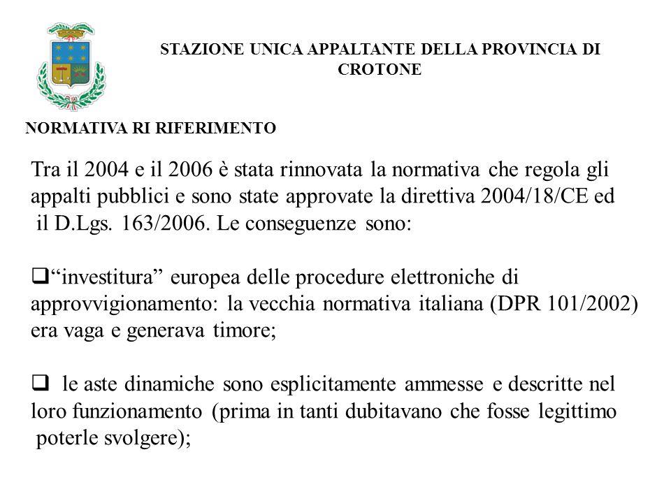 NORMATIVA RI RIFERIMENTO STAZIONE UNICA APPALTANTE DELLA PROVINCIA DI CROTONE Tra il 2004 e il 2006 è stata rinnovata la normativa che regola gli appalti pubblici e sono state approvate la direttiva 2004/18/CE ed il D.Lgs.