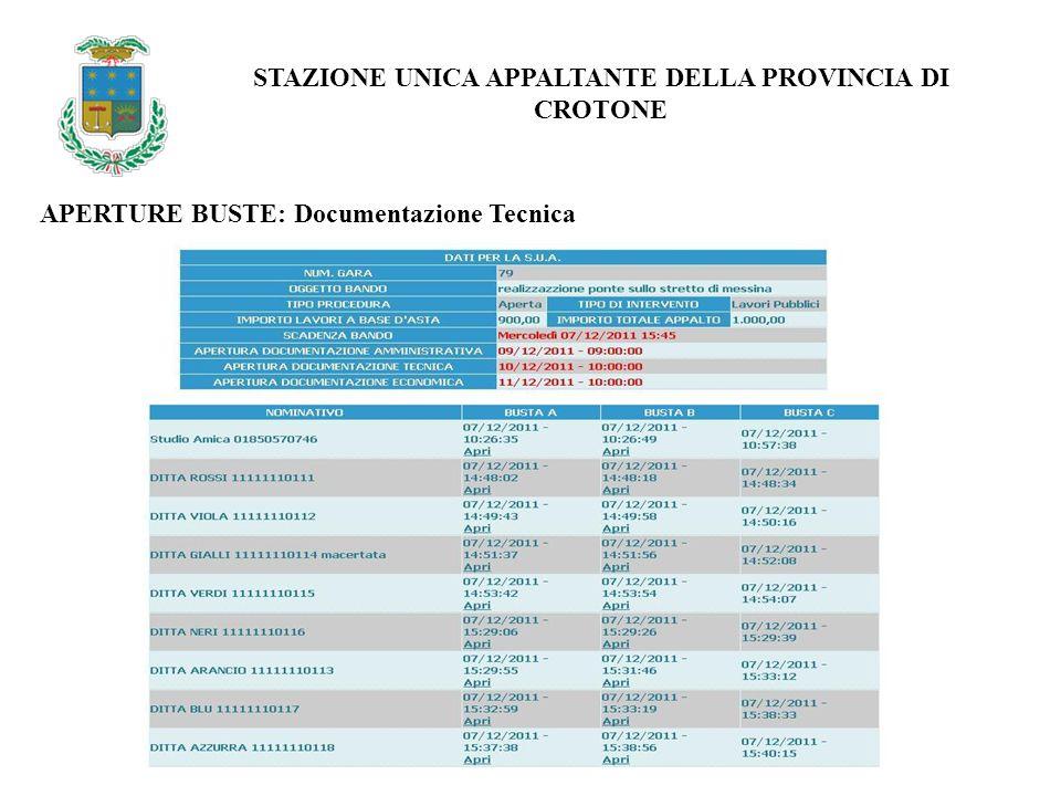 APERTURE BUSTE: Documentazione Tecnica STAZIONE UNICA APPALTANTE DELLA PROVINCIA DI CROTONE