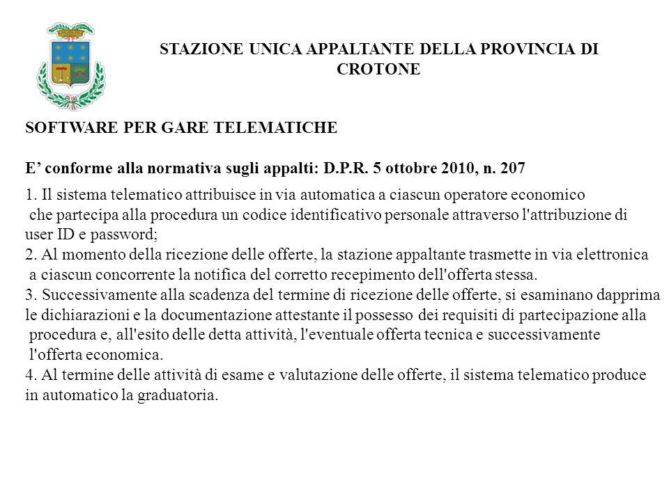 ACCESSO AREA RISERVATA 1/2 STAZIONE UNICA APPALTANTE DELLA PROVINCIA DI CROTONE