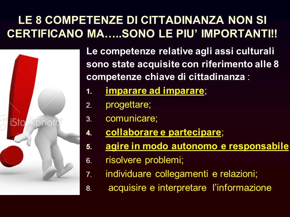 LE 8 COMPETENZE DI CITTADINANZA NON SI CERTIFICANO MA…..SONO LE PIU IMPORTANTI!.