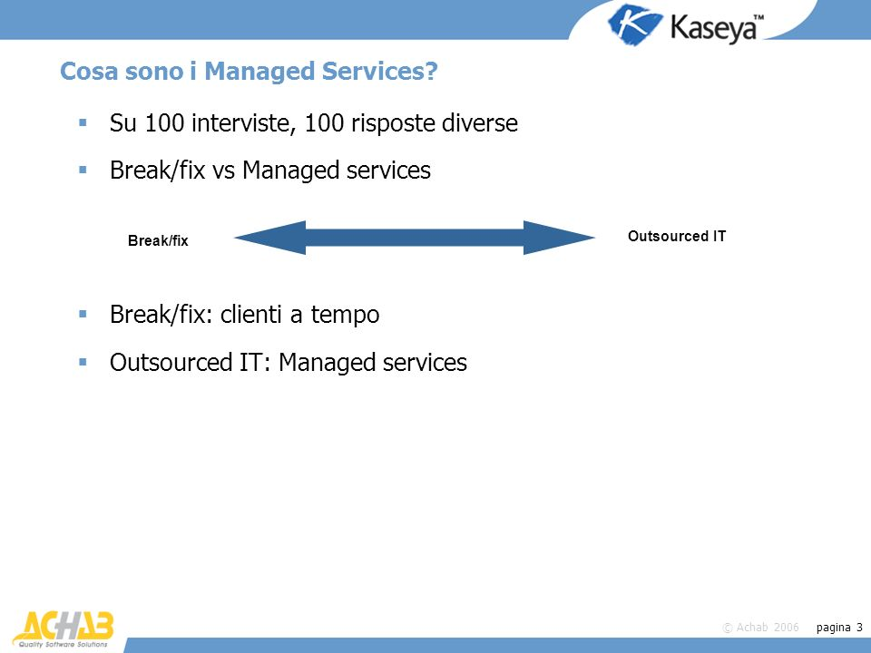 © Achab 2006 pagina 3 Cosa sono i Managed Services? Su 100 interviste, 100 risposte diverse Break/fix vs Managed services Break/fix: clienti a tempo O